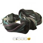 Черный мужской шарф с фиолетовыми и бирюзовыми линиями