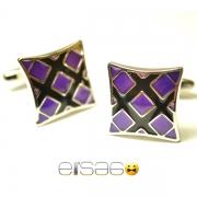 Фиолетовые запонки Эльсаго форма вогнутый квадрат