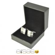 Квадратные серебряные запонки в подарочной упаковке