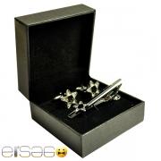 Серебряные запонки и зажим для галстука в форме армейской звезды