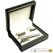 Серебряные запонки с зажимом для галстука в фирменной черной упаковке