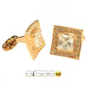 Золотые фирменные мужские запонки с драгоценным камнем
