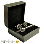 Серебряные запонки и зажим для галстука с круглой вставкой