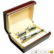 Удлиненные подарочные запонки и зажим для галстука серебро