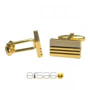 Золотые мужские запонки с 3 продольными выемками