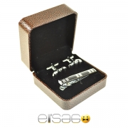 Черные стильные запонки и зажим для галстука в коричневой подарочной упаковке