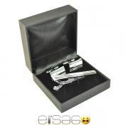 Фирменный серебряный зажим для галстука и запонки в подарочной коробке