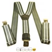 Светло-серые мужские подтяжки с металлическими защипами
