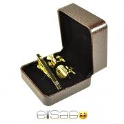 Лучшие золотые запонки и зажим для галстука в коричневой подарочной упаковке