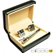 Квадратные подарочные запонки и зажим для галстука стиль шахматная доска