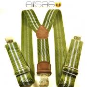 Зеленые мужские подтяжки с металлическими защипами