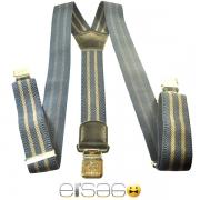 Синие мужские подтяжки с желтыми полосками