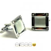 Квадратные запонки Эльсаго со стекляным камнем