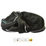 Черный мужской шарф с тремя цветными линиями
