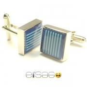 Квадратные запонки Эльсаго с голубыми полосками