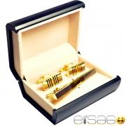 Запонки и зажим для галстука золотые с поперечными сечениями