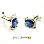 Темно-синие мужские серебрянные запонки Эльсаго