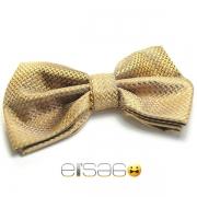 Желтая бабочка-галстук с материалом эффекта змеиной кожи