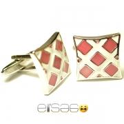 Бело-красные запонки Эльсаго формы вогнутый квадрат