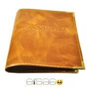 Оранжевая теснёная кожаная обложка для паспорта