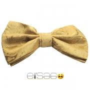 Желтая бабочка-галстук с цветочной вышивкой