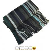 Серый с цветными полосками теплый шарф. Мода осень-зима 2013-2014