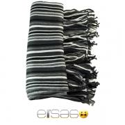 Черно-бело-серый мужской теплый шарф