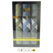 Зеленый, синий и серый носовые платки в подарочной упаковке